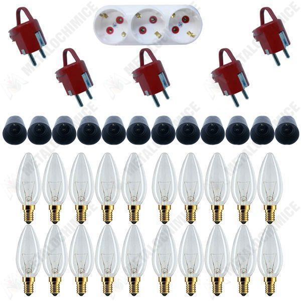 Pachet - 20 x Bec lumanare, 40W, Fasung E14 + 12 x Fasung Negru E14 + 5 x Stecher ceramic Schuko + Triplu Stecher