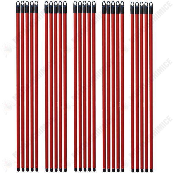 pachet 25 bucati coada pentru mop matura din metal rosu cu filet 110cm