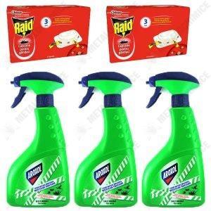 Pachet 3 bucati - Aroxol lichid insecticid impotriva insectelor taratoare cu pulverizator, otrava gandaci, furnici, plosnite, 3 x 400ml + 2 x Capcane pentru gandaci, Raid, 6 bucati
