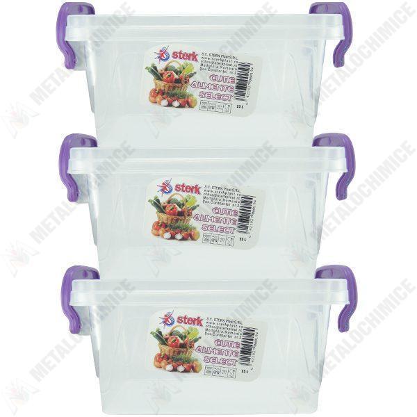 Pachet 3 bucati - Cutie depozitare alimente, Plastic alimentar, 42,5(L) x 27,7(l) x 22(In) cm, 3x25L