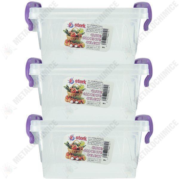 Pachet 3 bucati - Cutie depozitare alimente, Plastic alimentar, 43(L) x 28,3(l) x 18(In) cm, 3x20L