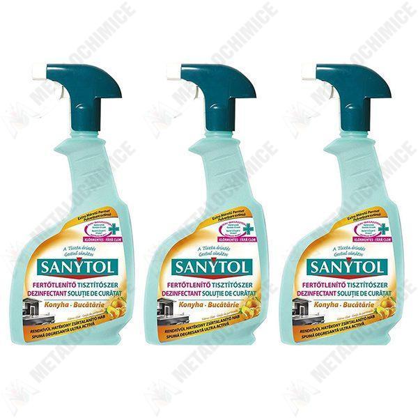 pachet 3 bucati dezinfectant pentru bucatarie sanytol 500ml 0