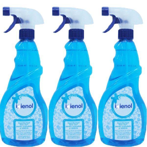 Pachet 3 bucati - Igienol Marine, Dezinfectant fara clor cu pulverizator, 3 x 750ml