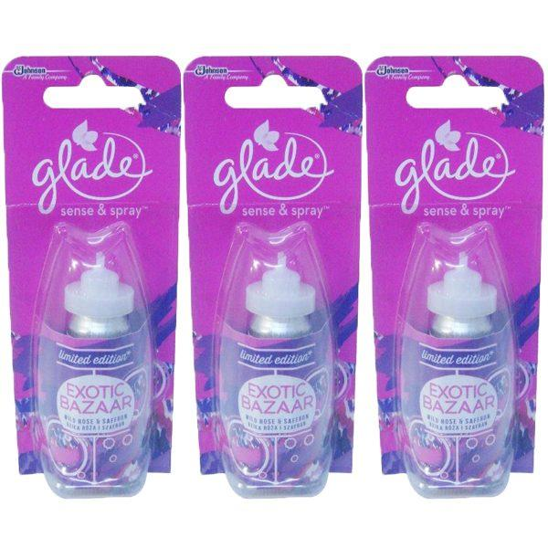 Pachet 3 bucati - Rezerva odorizant, Glade sense and spray, Exotic Bazar, 18 ml