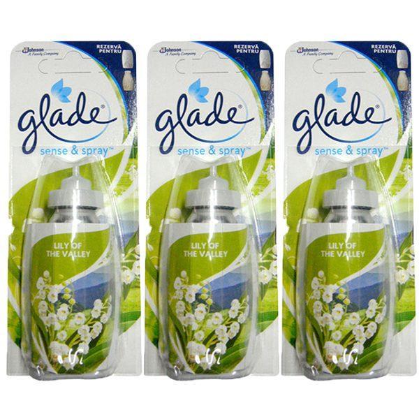 Pachet 3 bucati - Rezerva odorizant, Glade sense and spray, Lacrimioare, 3 x 18ml