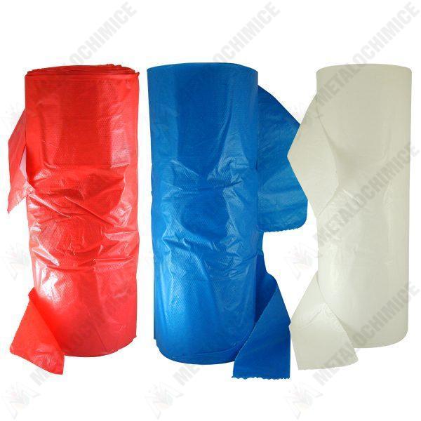 Pachet 3 role, Pungi cu manere cca. 90buc/rola, Rosu + Albastru + Alb