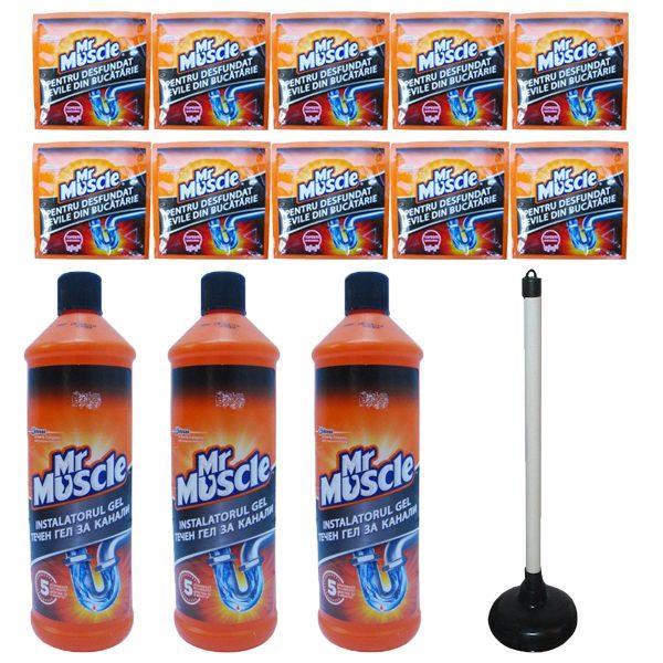Pachet - 3 x Mr. Muscle gel pentru desfundarea tevilor din baie si bucatarie, 1000 ml + 10 x Granule pentru desfundat tevile, Mr Muscle, 50 g + Pompa desfundat chiuveta, Mica