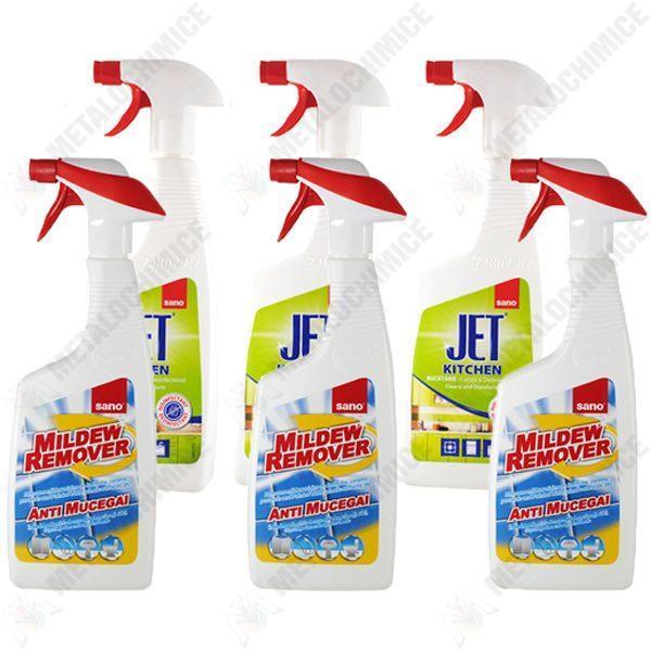 Pachet - 3 x Sano Mildrew Remover, Solutie anti mucegai cu pulverizator, 750ml + 3 x Sano jet Kitchen, Solutie pentru bucatarie cu pulverizator 750ml