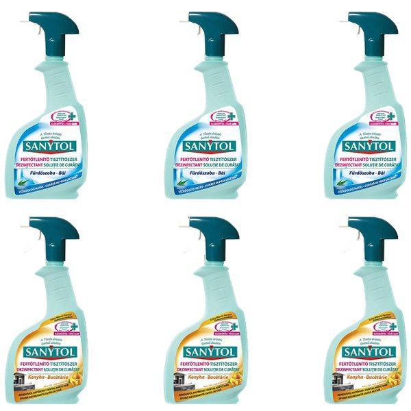 Pachet - 3 x Sanytol Baie, Dezinfectant cu pulverizator, 500ml + 3 x Sanytol dezinfectant bucatarie 500ml