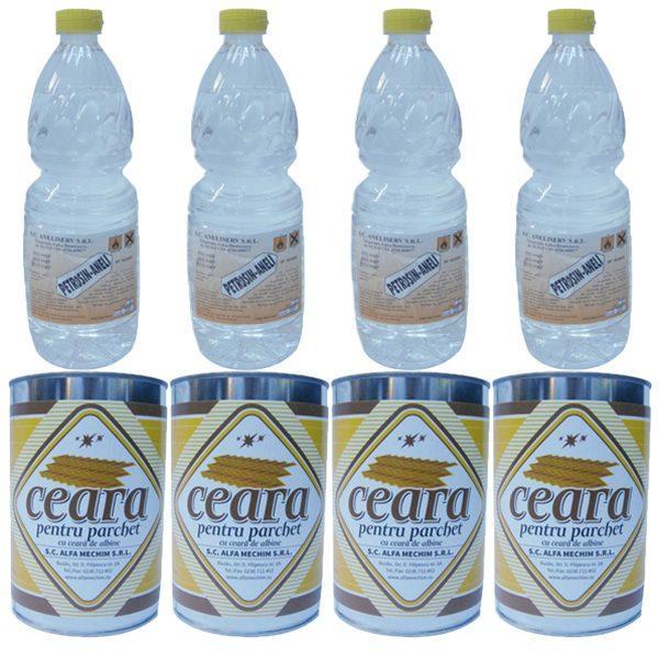 Pachet 4 + 4 bucati - 4 x Ceara solida incolora pentru parchet, 1000 ml + 4 x Petrosin Aneli 800 ml