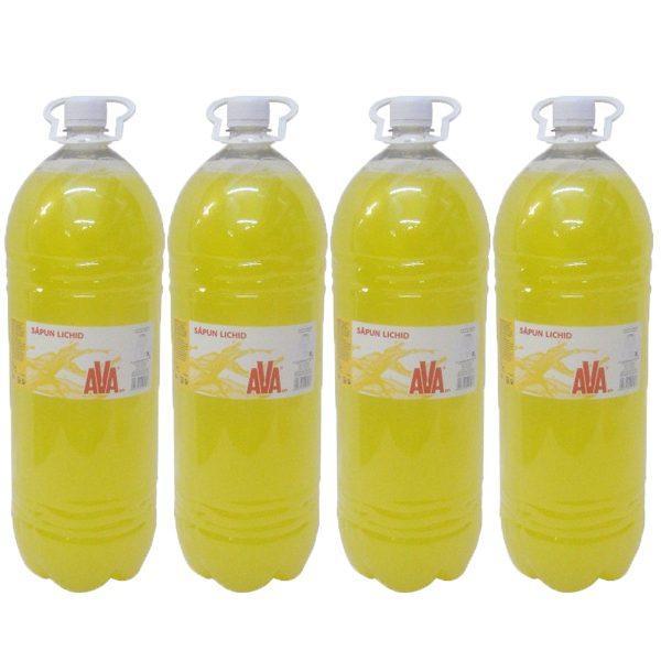 pachet 4 bucati ava sapun lichid galben 3 l