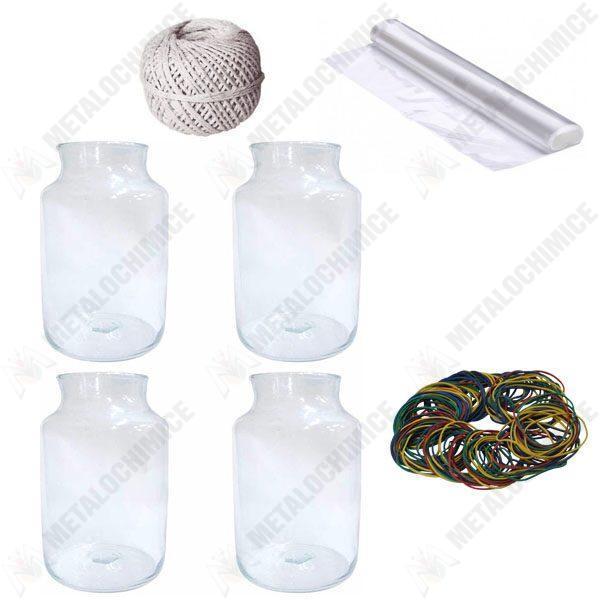 Pachet 4 bucati - Borcan 10 litri gura mare, Borcane din sticla + 4 bucati Celofan alimentar 45cm x 1m + Sfoara alba bumbac 100g + 140 bucati elastice
