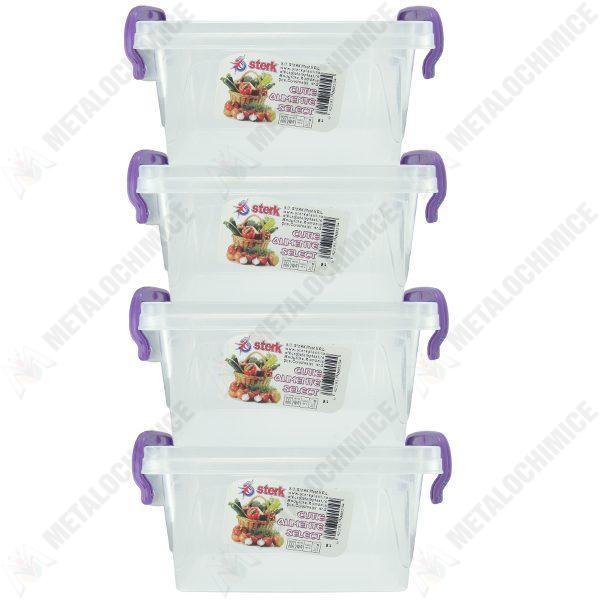 Pachet 4 bucati - Cutie depozitare alimente cu capac, Plastic alimentar, 30,6(L) x 19,2(l) x 15(In) cm, 4x8L