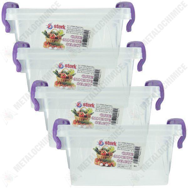 Pachet 4 bucati - Cutie depozitare alimente cu capac, Plastic alimentar, 37(L) x 23,6(l) x 15,5(In) cm, 4x12L