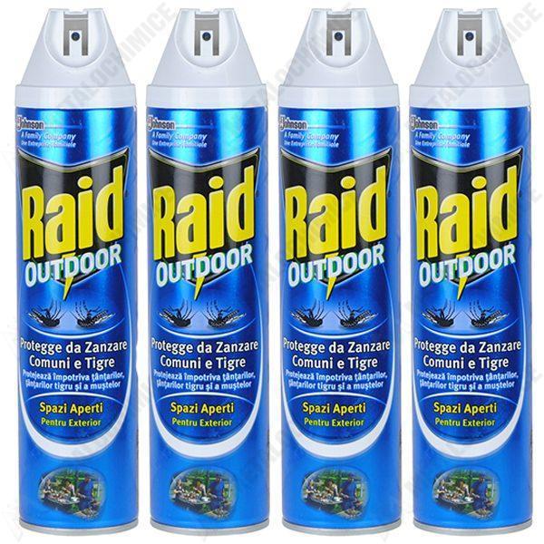 Pachet 4 bucati - Raid Outdoor Spray anti muste si tantari, 4 x 400ml
