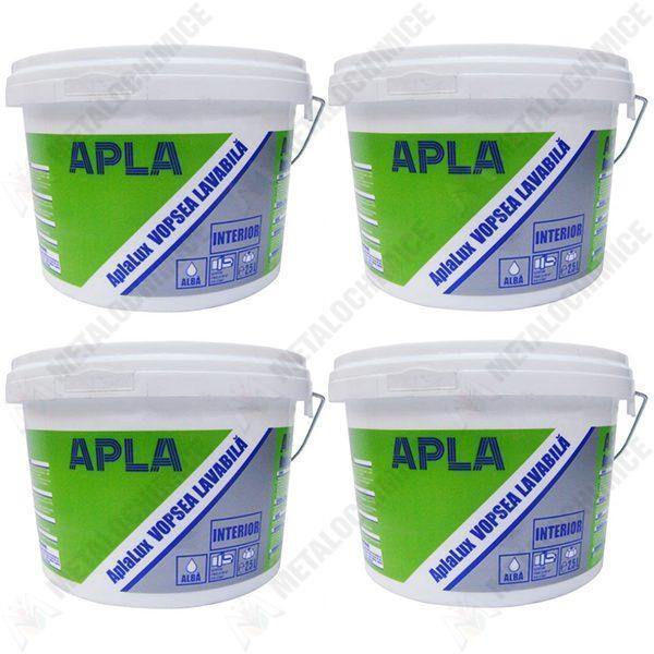 Pachet 4 bucati - Vopsea lavabila de interior, Aplalux, 2.5L