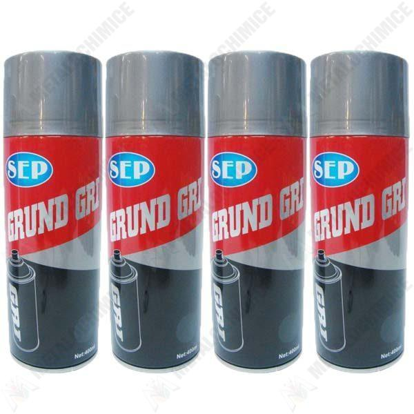 Pachet 4 bucati, Vopsea spray, Sep grund, Gri, 400ml  din categoria Spray-uri