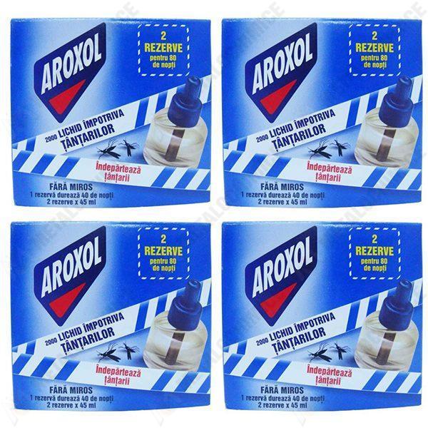 Pachet 4 cutii - Aroxol 2000, Lichid impotriva tantarilor, 2 x 45ml, Rezerve pentru 80 de nopti, Fara miros, 2 Rezerve/Cutie, 8 Rezerve/Pachet