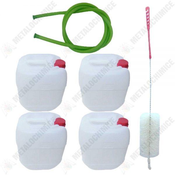pachet 4 x canistra 10l din plastic alimentar bidon cu maner si capac perie pentru spalat canistre furtun pentru tras vin 1 5m