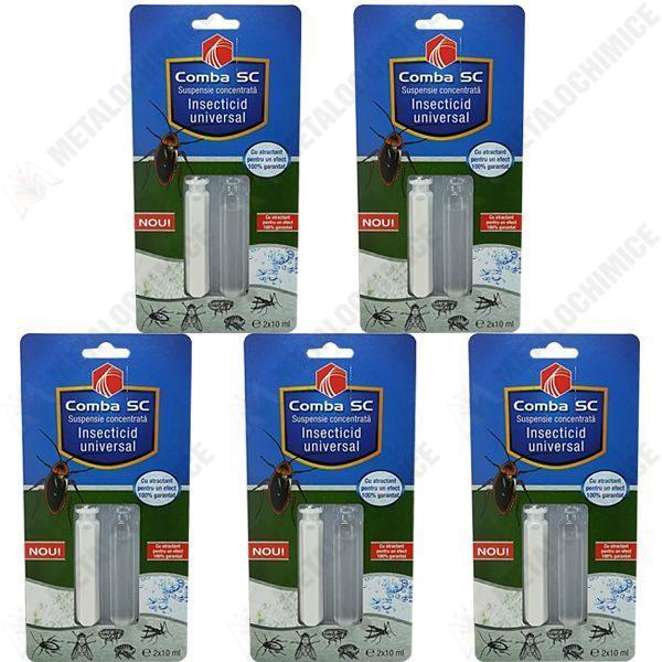 pachet 5 bucati comba sc 10ml insecticid universal echivalent regent otrava gandaci plosnite purici muste tantari molii omizi 5 x 10ml