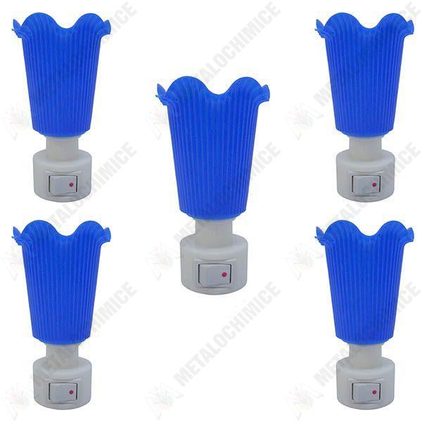 Pachet 5 bucati - Lampa de veghe, Albastra, Cu intrerupator, Lumina calda