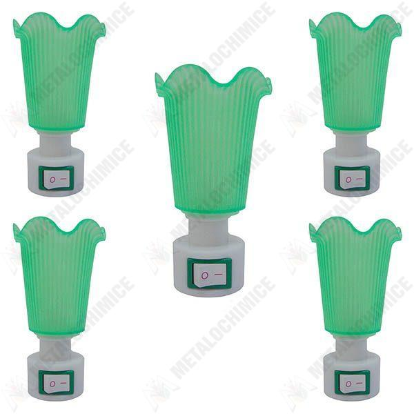 Pachet 5 bucati - Lampa de veghe, verde, cu intrerupator, lumina calda