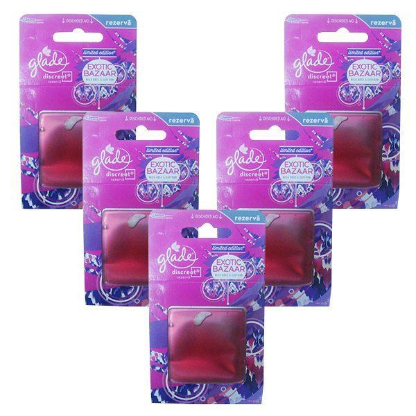 Pachet 5 bucati, Rezerva, odorizant gel, Glade Discreet, Trandafir salbatic si sofran, 8g