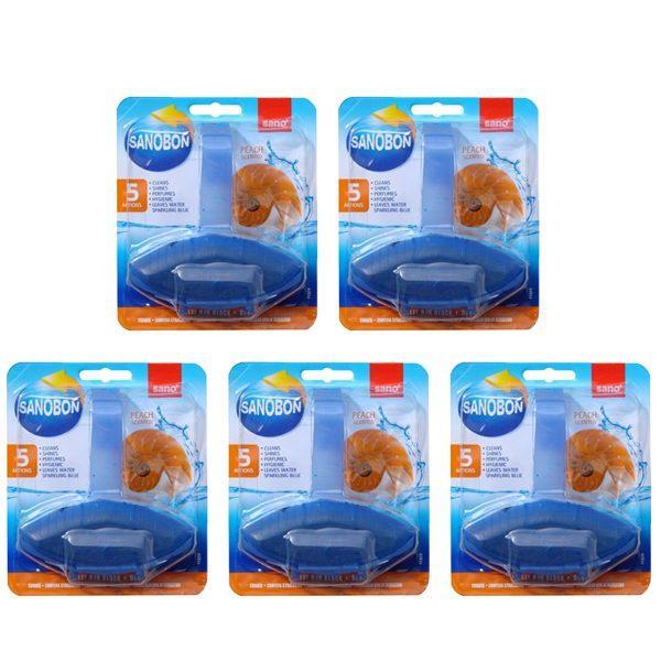 Pachet 5 bucati - SanoBon Blue Peach Scented, Toilet Rim Block, Odorizant pentru agatat in vasul de wc, 5 x 55g