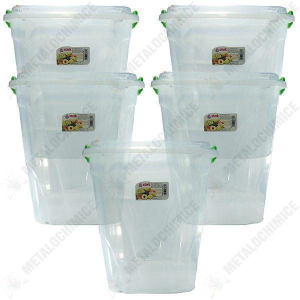 Pachet 5 cutii - Cutie alimente cu capac, Plastic alimentar transparent, Capacitate 20L, Cutie branza, 5x20L