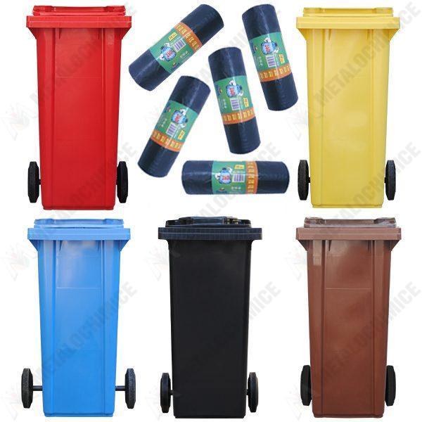 pachet 5 pubele 120l tomberon cu roti pentru gunoi reciclare selectiva 5 role saci menajeri pentru pubela 10buc 240l