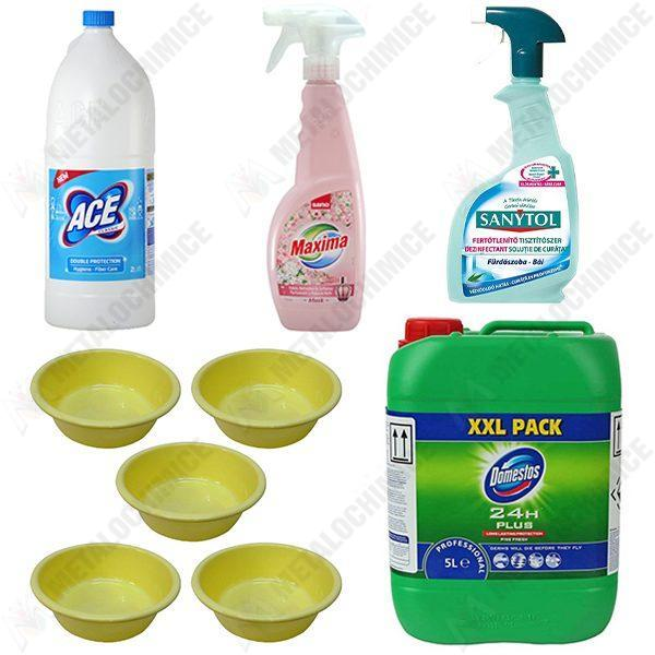 pachet-5-x-lighean-rotund-4l-domestos-pine-anti-bacterii-5l-sanytol-dezinfectant-baie-500ml-sano-maxima-musk-odorizant-haine-750ml-ace-classic-2l