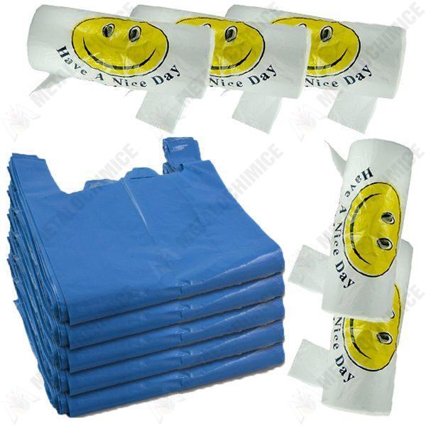 Pachet - 5 x Pungi plastic cu manere, Punga tip maieu, Rezistenta 10 kg, 50 pungi/pachet + 5 x Pungi cu manere Smiley Face, 125buc/rola