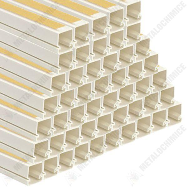Pachet 50 bucati - Canal cablu, Pat cablu cu banda adeziva, PVC, 16x16mm, 2m/Bara