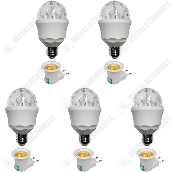 Pachet 5+5 - 5 x Bec disco rotativ, Cu LED, Oval, Fasung E27, 3W, 800 ore, Multicolor + 5 x Stecher cu fasung E27 si intrerupator