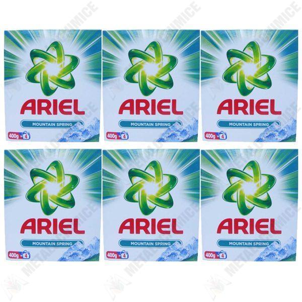 Pachet 6 bucati - Ariel Mountain spring, Detergent automat la cutie, 6 x 400 g