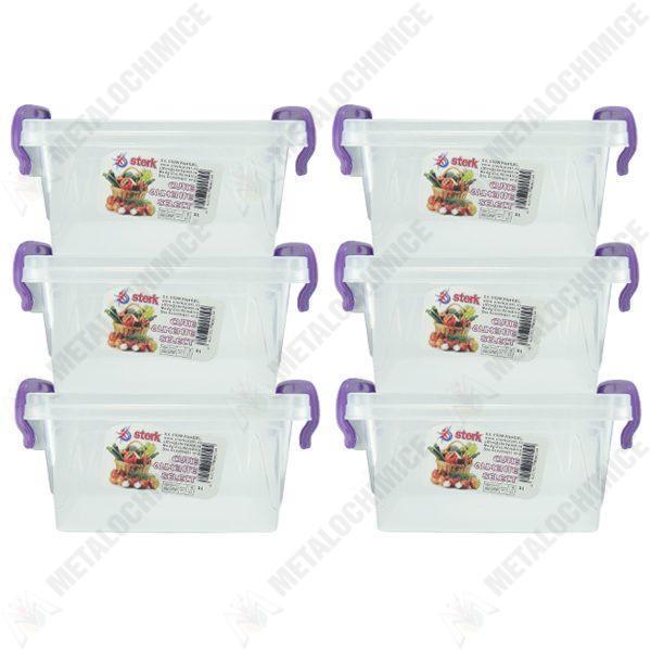 Pachet 6 bucati - Cutie depozitare alimente cu capac, Plastic alimentar, 20,8(L) x 14,2(l) x 11,5(In) cm, 6x3L