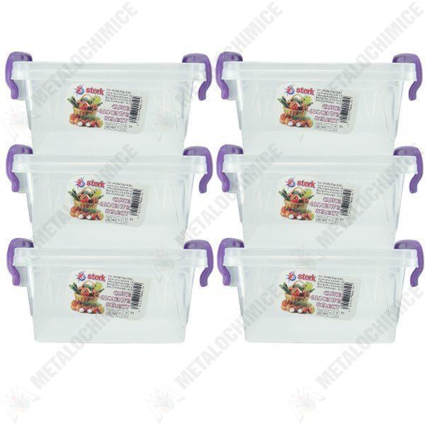 Pachet 6 bucati - Cutie depozitare alimente cu capac, Plastic alimentar, 25,8(L) x 16,3(l) x 13,8(In) cm, 6x5L