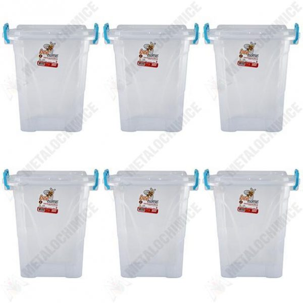 Pachet 6 bucati - Cutie inalta patrata pentru depozitare alimente cu capac, Plastic alimentar, 19,3(L) x 19,3(l) x 22,3(In) cm, 6x5L