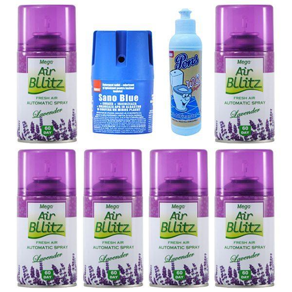 Pachet 6 bucati - Odorizant camera, Mega Air Bllitz, Rezerva, Lavanda, 6 x 220ml + Sano Blue, odorizant pentru WC 150g + Pons Elegant, odorizant toaleta 200ml