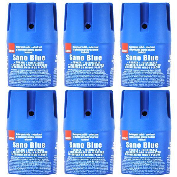 Pachet 6 bucati - Sano Blue, Odorizant si igienizant pentru bazinul toaletei, Detergent solid, Vas WC, 6x 150g