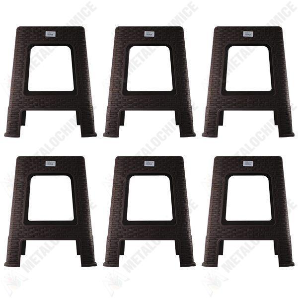 pachet 6 bucati scaun din plastic model ratan pentru gradina casa maro
