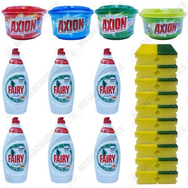 Pachet - 6 x Fairy Sensitive, Detergent de vase, Menta, 800 ml + Axion ultra prospetime, 400 g + Axion ultra degresant, 400 g + Axion Lemon, 400 g + Axion mar verde, 225g + 10 x Bureti de vase, 2/Set