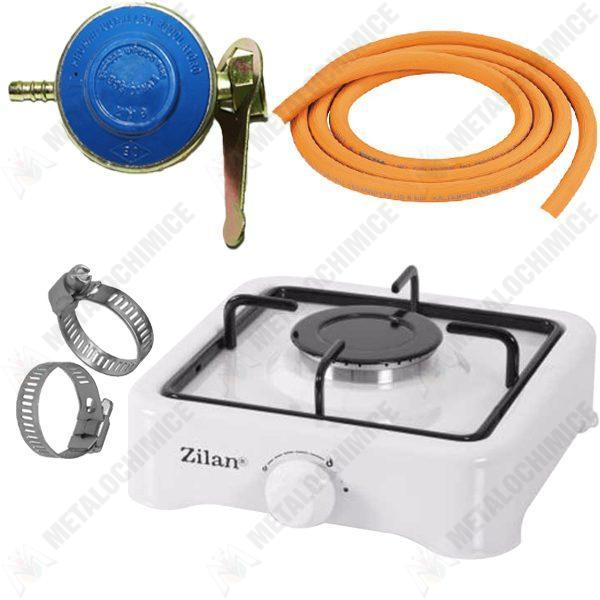 Pachet (5 produse) - Aragaz Zilan 1 ochi Alb, 2m furtun gaz, Coliere si Ceas butelie