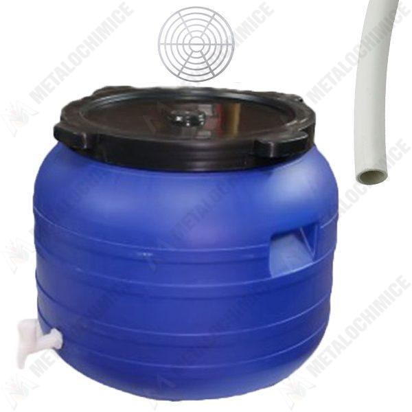 Pachet - Butoi 100L cu robinet, Plastic alimentar, Bidon cu capac prin infiletare + Presa rotunda pentru butoi 45cm + Teava pentru suflat / pitrocit