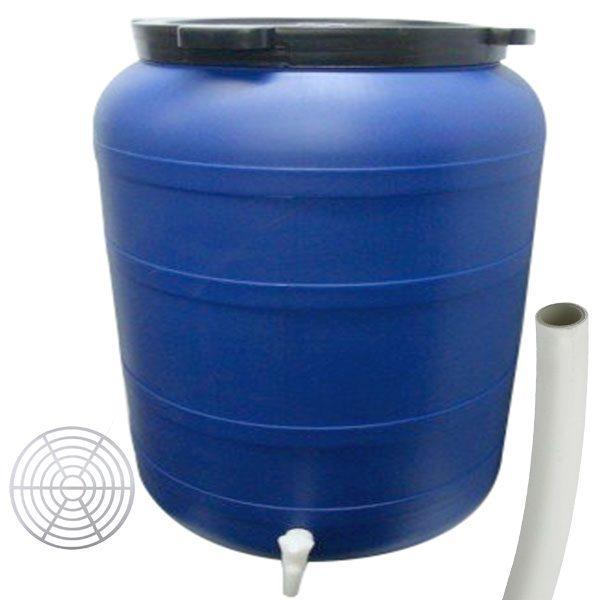 Pachet - Butoi 200L cu robinet, Plastic alimentar, Bidon cu capac prin infiletare + Presa rotunda pentru butoi 45cm + Teava pentru suflat / pitrocit