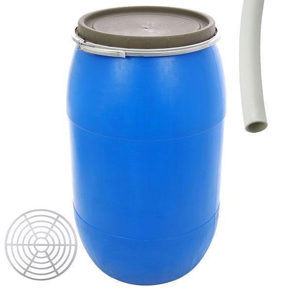 Pachet - Butoi 120L din plastic alimentar, cu cerc metalic, Bidon cu capac + Presa rotunda pentru butoi 45cm + Teava pentru suflat / pitrocit