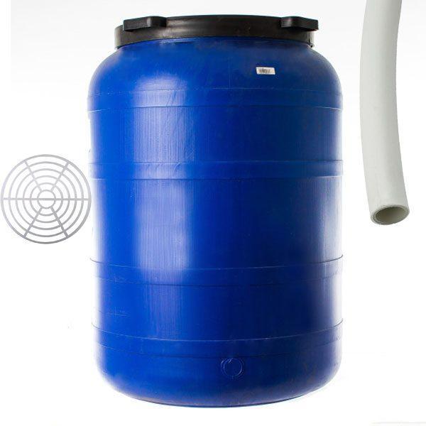 Pachet - Butoi 200L rotund din plastic alimentar, Bidon cu capac prin infiletare + Presa rotunda pentru butoi 45cm + Teava pentru suflat / pitrocit