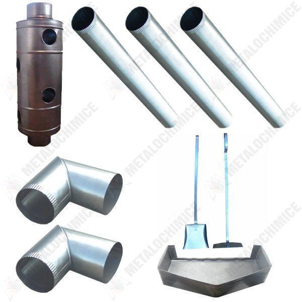 Pachet - Recuperator caldura 120mm + 3 x Burlan tabla neagra + 2 x Cot + Tava cenusa + Set Vatrai