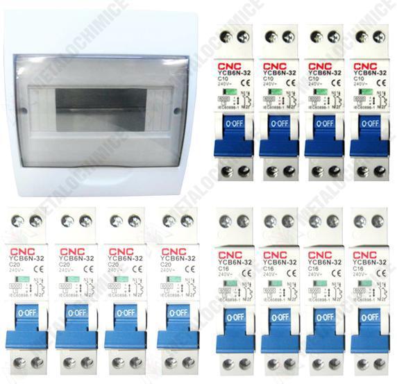 pachet tablou sigurante pt 12 posturi 25x20x9cm 12 sigurante bipolare automate 4x 10a 4x 16a 4x 20a