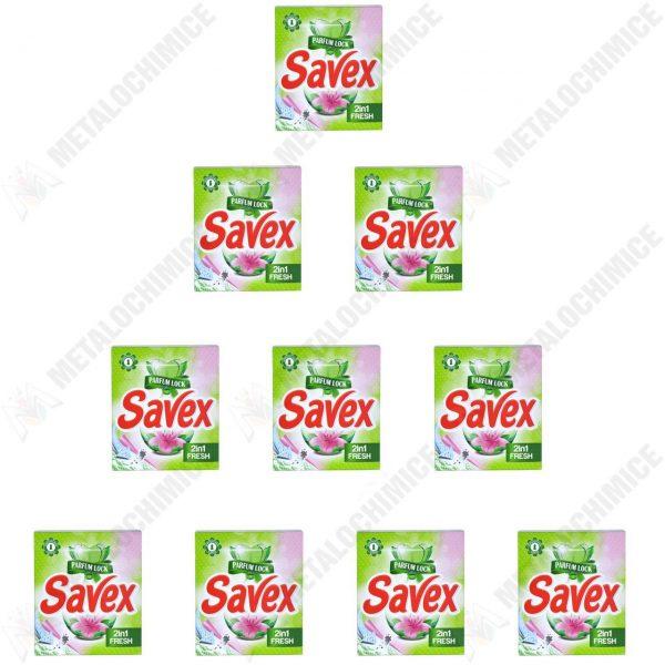Pachet 10 bucati - Savex Fresh Automat 2in1, Detergent pentru rufe la cutie, 10 x 300g